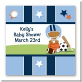 Sports Baby African American - Personalized Baby Shower Card Stock Favor Tags