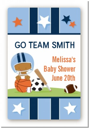 Sports Baby African American - Custom Large Rectangle Baby Shower Sticker/Labels