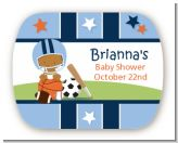 Sports Baby African American - Personalized Baby Shower Rounded Corner Stickers