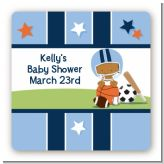 Sports Baby African American - Square Personalized Baby Shower Sticker Labels