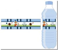 Sports Baby African American - Personalized Baby Shower Water Bottle Labels