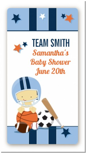 Sports Baby Asian - Custom Rectangle Baby Shower Sticker/Labels