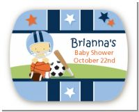 Sports Baby Asian - Personalized Baby Shower Rounded Corner Stickers