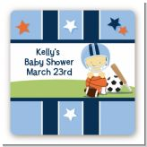 Sports Baby Asian - Square Personalized Baby Shower Sticker Labels