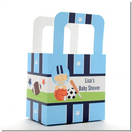 Sports Baby Caucasian - Personalized Baby Shower Favor Boxes