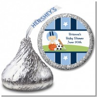 Sports Baby Caucasian - Hershey Kiss Baby Shower Sticker Labels