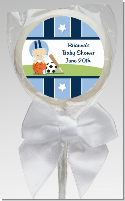 Sports Baby Caucasian - Personalized Baby Shower Lollipop Favors