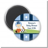 Sports Baby Caucasian - Personalized Baby Shower Magnet Favors