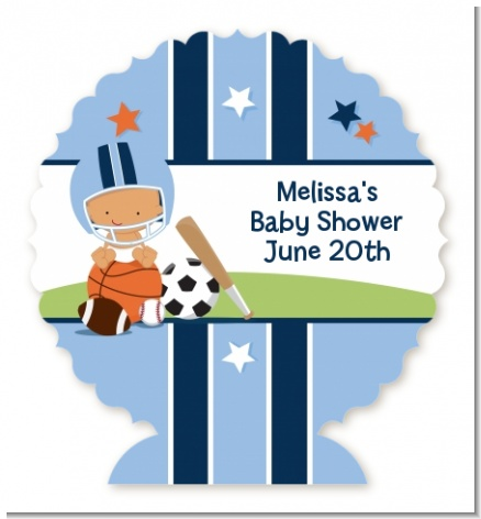 Sports Baby Hispanic - Personalized Baby Shower Centerpiece Stand