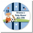 Sports Baby Hispanic - Round Personalized Baby Shower Sticker Labels thumbnail