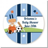 Sports Baby Hispanic - Round Personalized Baby Shower Sticker Labels