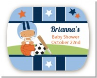 Sports Baby Hispanic - Personalized Baby Shower Rounded Corner Stickers