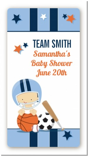 Sports Baby Caucasian - Custom Rectangle Baby Shower Sticker/Labels