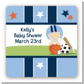 Sports Baby Caucasian - Square Personalized Baby Shower Sticker Labels