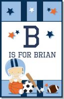 Sports Baby Caucasian - Personalized Baby Shower Nursery Wall Art