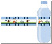 Sports Baby Caucasian - Personalized Baby Shower Water Bottle Labels