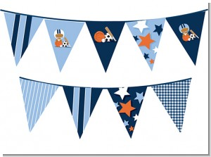 Sports Baby African American - Baby Shower Themed Pennant Set