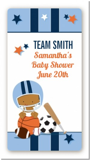 Sports Baby African American - Custom Rectangle Baby Shower Sticker/Labels
