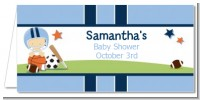 Sports Baby Caucasian - Personalized Baby Shower Place Cards