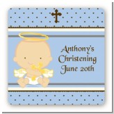 Angel Baby Boy Caucasian - Square Personalized Baptism / Christening Sticker Labels