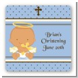 Angel Baby Boy Hispanic - Square Personalized Baptism / Christening Sticker Labels thumbnail
