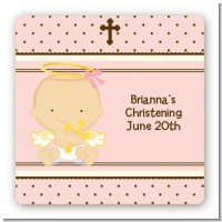 Angel Baby Girl Caucasian - Square Personalized Baptism / Christening Sticker Labels