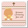 Angel Baby Girl Hispanic - Square Personalized Baptism / Christening Sticker Labels thumbnail
