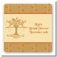 Autumn Tree - Square Personalized Bridal Shower Sticker Labels thumbnail