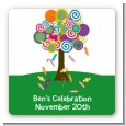 Candy Tree - Square Personalized Birthday Party Sticker Labels thumbnail