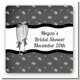Champagne Glasses - Square Personalized Bridal Shower Sticker Labels thumbnail