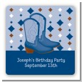 Cowboy Western - Square Personalized Birthday Party Sticker Labels thumbnail