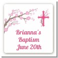 Cross Cherry Blossom - Square Personalized Baptism / Christening Sticker Labels thumbnail