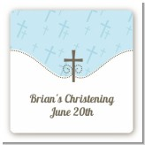 Cross Blue - Square Personalized Baptism / Christening Sticker Labels