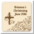 Cross Brown & Beige - Square Personalized Baptism / Christening Sticker Labels thumbnail