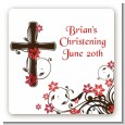 Cross Floral Blossom - Square Personalized Baptism / Christening Sticker Labels thumbnail