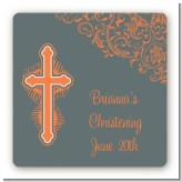 Cross Grey & Orange - Square Personalized Baptism / Christening Sticker Labels