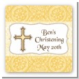 Cross Yellow & Brown - Square Personalized Baptism / Christening Sticker Labels thumbnail