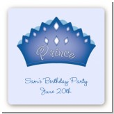 Prince Crown - Square Personalized Birthday Party Sticker Labels
