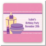 Glamour Girl - Square Personalized Birthday Party Sticker Labels