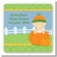 Pumpkin Baby Caucasian - Square Personalized Baby Shower Sticker Labels thumbnail