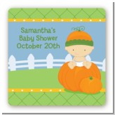 Pumpkin Baby Caucasian - Square Personalized Baby Shower Sticker Labels