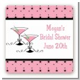 Martini Glasses - Square Personalized Bridal Shower Sticker Labels thumbnail