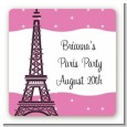 Pink Poodle in Paris - Square Personalized Birthday Party Sticker Labels thumbnail