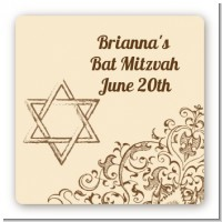 Jewish Star of David Brown & Beige - Square Personalized Bar / Bat Mitzvah Sticker Labels