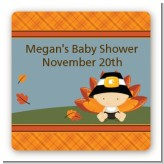 Little Turkey Boy - Square Personalized Baby Shower Sticker Labels