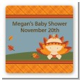 Little Turkey Girl - Square Personalized Baby Shower Sticker Labels thumbnail