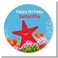 Starfish - Round Personalized Birthday Party Sticker Labels thumbnail