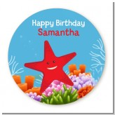 Starfish - Round Personalized Birthday Party Sticker Labels
