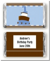 1st Birthday Topsy Turvy Blue Cake - Personalized Birthday Party Mini Candy Bar Wrappers