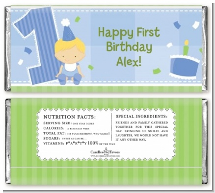 1st Birthday Boy - Personalized Birthday Party Candy Bar Wrappers